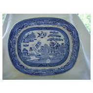 English Blue Willow Platter  19th Century