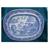 19th Century English Blue Willow Platter