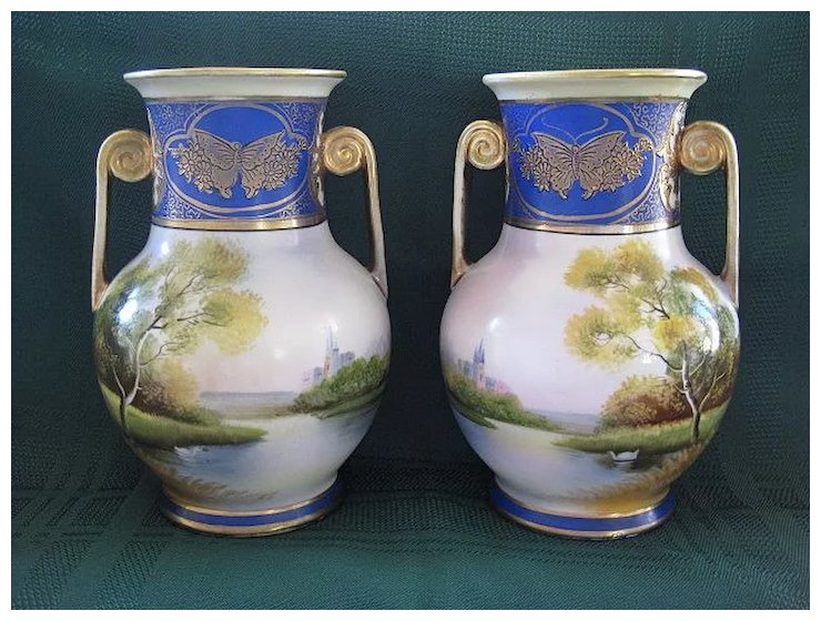 Pair Of Antique Noritake Hand Painted Mirror Vases 1908 1911
