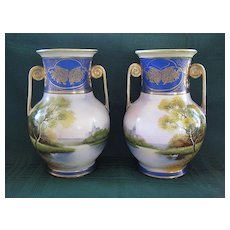 Pair of  Antique Noritake Hand Painted Mirror Vases 1908 - 1911