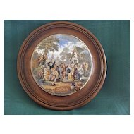 Framed Victorian English Prattware 1800's POT LID