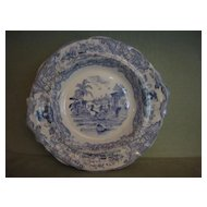 Antique Early Blue Transferware Pedestal Bowl/Compote Triumphal Car J. & M. P. Bell & Co. 1800's