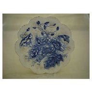 Antique Flow Blue Floral Pate 1800's