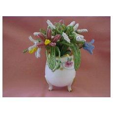Vintage Bead Work in Small Limoges Vase France