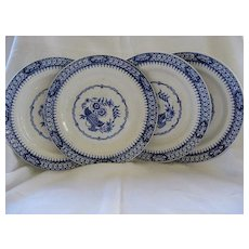"Four 9"" Flow Blue Plates by Staffordshire Barkers & Kent  Pattern ""Clifton"""
