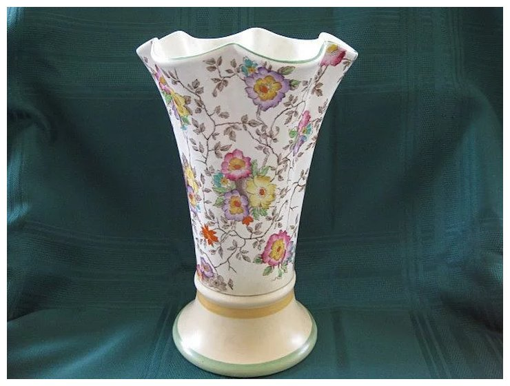 English Decoro Hand Painted Floral Pottery Vase 1933 1944 Lindas