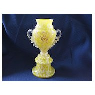 Antique Victorian Art Glass Spatter Pedestal Vase