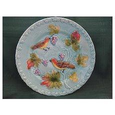 German Majolica Plate with Birds