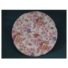 "English Johnson Brothers China Chintz Plate ""Victorian"" Pattern"