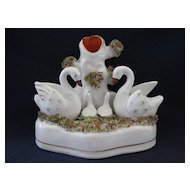 19th Century Staffordshire Figurine with Spill Vase and Swans