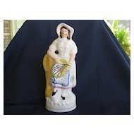 "Antique Large Staffordshire Figure  ""Lady with Fish Basket""  1800's"
