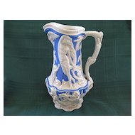 """Antique Charles Meigh Relief Molded Mythological Stoneware Blue and White Jug/ Pitcher """"1856"""""""