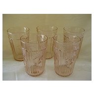"""Four Pink Depression Glass Mayfair """"Open Rose""""  Juice Glasses  5 0z. Tumblers"""
