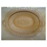 "Pink Mayfair ""Open Rose"" Oval Depression Glass Bowl"