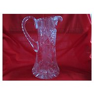 Tall Narrow Crystal Glass Water Pitcher with Pressed Pattern