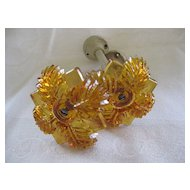 Pair of Victorian Amber Glass Curtain Tiebacks