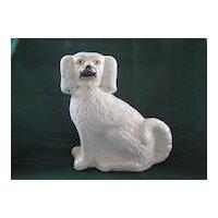 "Single White Staffordshire Spaniel Dog 9"" Tall -  19th Century"