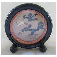 Black Lacquer Frame with Oriental Scene of Semi Precious Stones