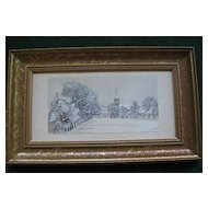 Antique 1835 Pencil, Watercolor, Framed Drawing of Church and Trees