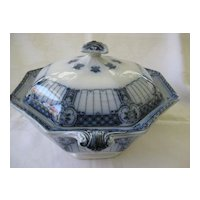 Flow Blue Vegetable Bowl with Lid - Ford & Sons - Pattern Halford