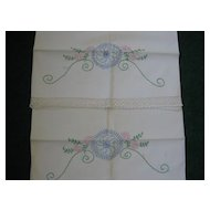 Pair of Vintage Cotton Handwork Embroidered Pillow Cases