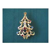 Monet Holiday Christmas Pin with Rhinestones