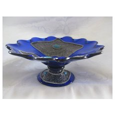 Cobalt Blue Art Glass Bowl with Applied Silver and Turquoise Decoration