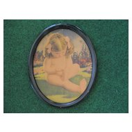 Charming Toddler Girl Vintage Print in Oval Frame