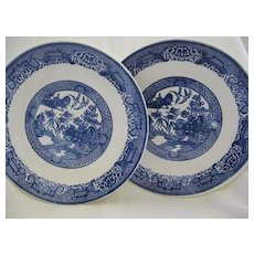 Two Matching Blue Willow Plates
