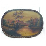 Vintage Hand Painted Oval Rattan Border Tray