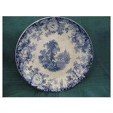 """English Blue & White Scenic 9"""" Transferware Plate"""
