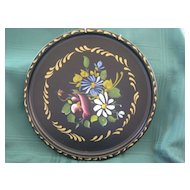 Black Tole Tray Hand Painted by Nashco