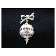 Vintage Holiday Silver Ball Pin