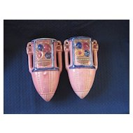 Vintage Pair of Pink Wall Pockets   Japan