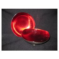 Pair of Silver Plate Bowls with Red Glass Liner