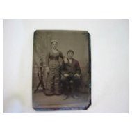 Photographic Tintype Victorian Couple 1860 - 1930