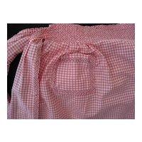 Vintage Pink White Check Cotton Gingham Apron