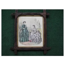 Vintage Antique Wood Cross Frame with French Victorian Print