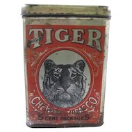 Vintage Chein Tobacco Tin Canister with Tiger