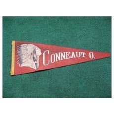 Vintage Indian Head Souvenir Pennant Conneaut Ohio