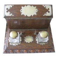 English 1919 Presentation Royal Air Force Oak Desk Letter Box with Double Inkwells