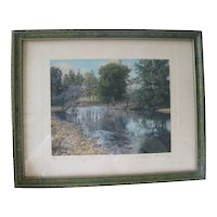 """Wallace Nutting Signature Landscape Print """"The Swimming Pool"""""""