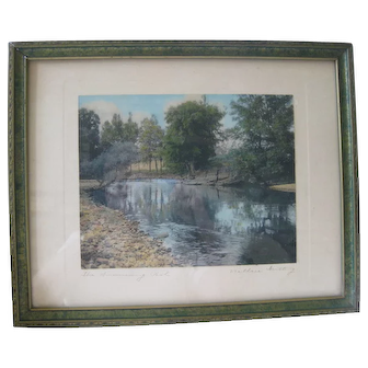 "Wallace Nutting Signature Landscape Print ""The Swimming Pool"""