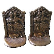 """Vintage Cast Iron Bookends """"Courting Couple"""""""