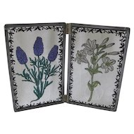Decorative Wavy Glass Panels with Decal Flowers