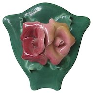Vintage Ceramic Green Wallpocket - Johannes Brahm - Calf.