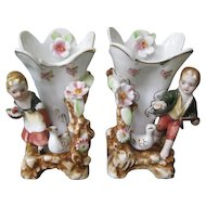 Pair of Ucagco Porcelain 1950's Figurine Vases