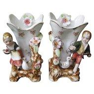 Pair of Ucagco Porcelain 1950's Figurine Vases