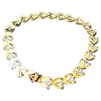 Vintage 14k Gold Bracelet Heart Shape Links