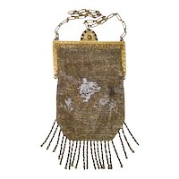 Antique Gold Glass Beaded Victorian Purse with Fringe